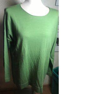 J. Jill  Green 100% Merino Wool Tunic Top Size L